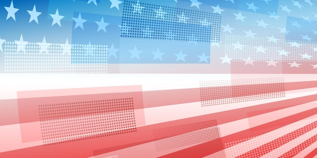 Usa independence day abstract background with elements of the american flag in red and blue colors