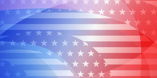 빨간색과 파란색 색상의 미국 국기 요소가 있는 미국 독립 기념일 추상적 인 배경