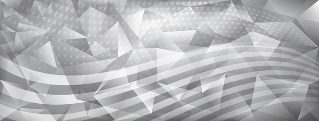 Usa independence day abstract crystal background with elements of american flag in gray colors