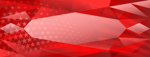 Usa independence day abstract crystal background with elements of american flag in red colors