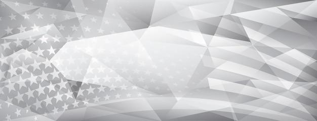 회색 색상의 미국 국기 요소가 있는 미국 독립 기념일 추상 크리스탈 배경