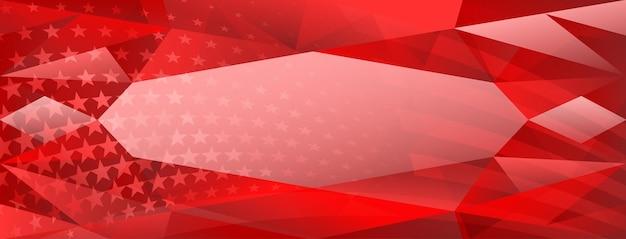 붉은 색으로 된 미국 국기의 요소가 있는 미국 독립 기념일 추상 크리스탈 배경