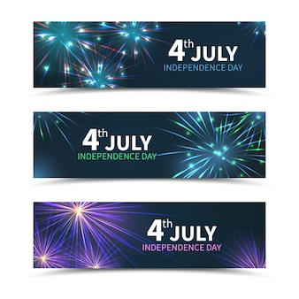 Usa independence day banners set with fireworks. american day, america holiday, celebration july, national freedom, vector illustration