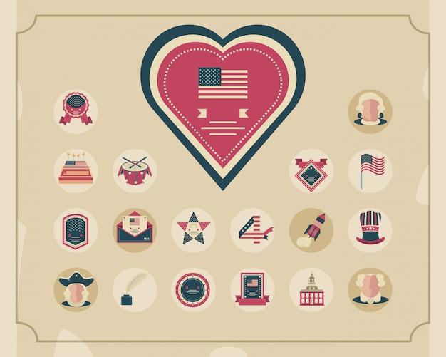Usa independence day celebration elements