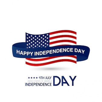 USA Independence Day Design With Light Background And Flag Vector