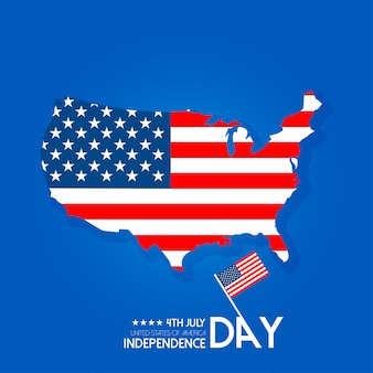 Usa independence day design with map and typography vector