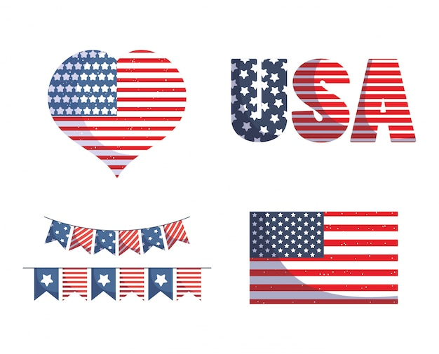 Usa independence day flag heart and banner pennant