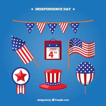 미국 독립 기념일 평면 요소 컬렉션