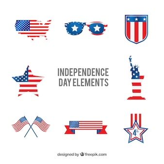Usa independence day flat element collection