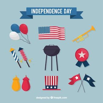 Collezione di elementi piatto giorno dell'indipendenza degli stati uniti