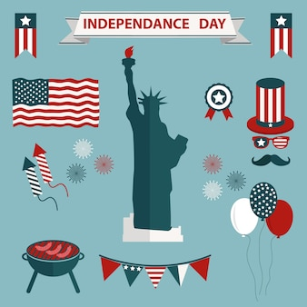 Usa independence day icons colelction