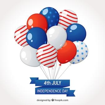 Composizione del giorno dell'indipendenza degli stati uniti con 2d palloncini