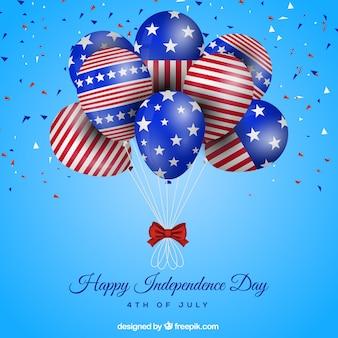 미국 독립 기념일의 현실적인 풍선