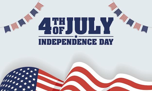 깃발과 화환이 있는 미국 독립 기념일
