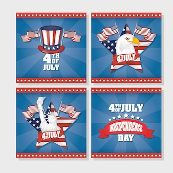 Usa independence day with flag in set icons