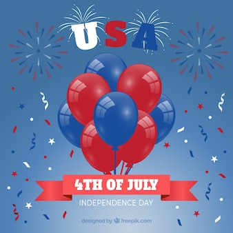 Usa independence day with flat balloons