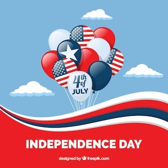 평평한 풍선과 함께 미국 독립 기념일