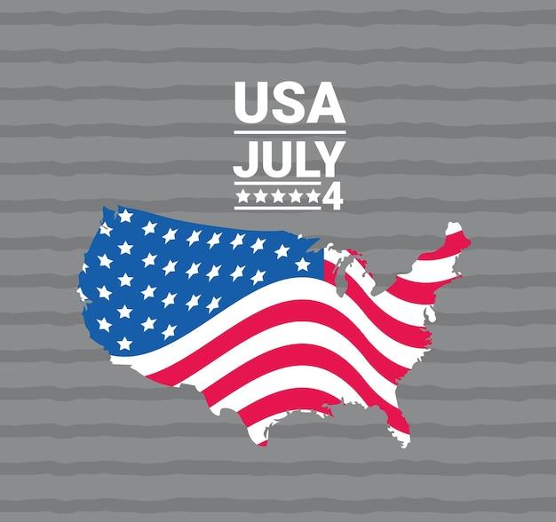 アメリカの独立と地図のポスター