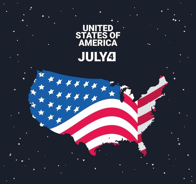 Независимость сша с картой плакат