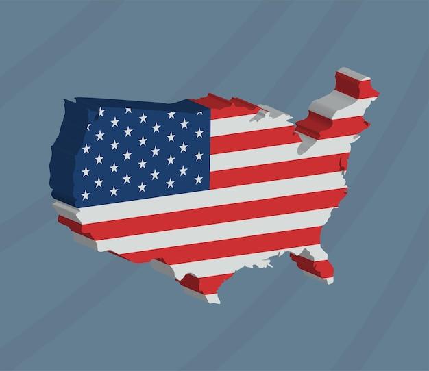 Изометрическая карта сша и значок географии флага