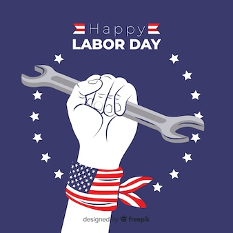 Usa labor day background in flat style