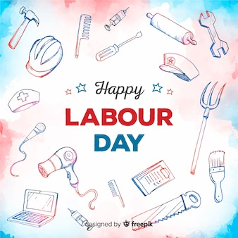 Usa labor day background in watercolor style