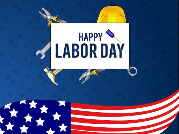 미국 국기와 함께 미국 노동절 배경