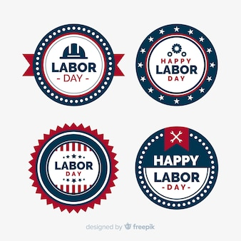 Usa labor day badge collection in flat style