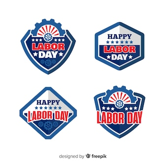 Usa labor day badge collection in flat style Vector | Free Download