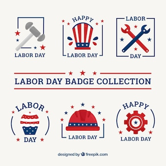 Usa labor day badge collection with flat design