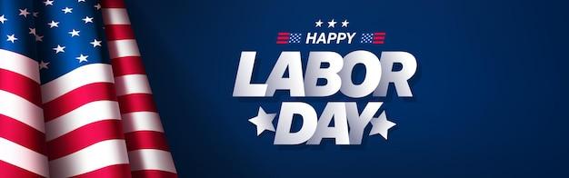파란색에 미국 국기와 함께 미국 노동절 배너 및 포스터 템플릿미국 노동절 축하