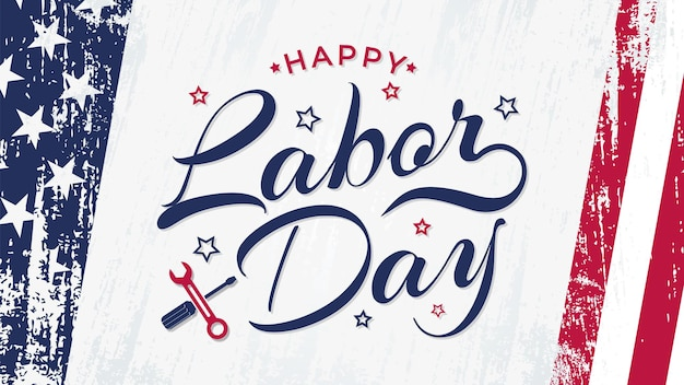 Usa labor day banner with brush stroke background in united states national flag colors and hand let