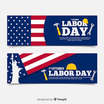 Usa labor day banners in flat style