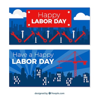 Usa labor day banners with flat design