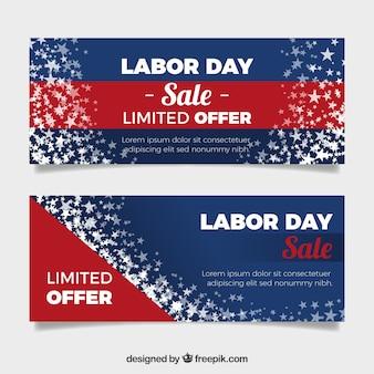 Баннеры рабочего дня Usa с плоским дизайном