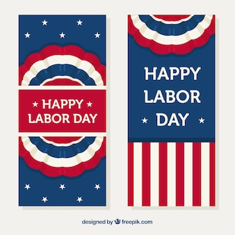Usa labor day banners with vintage style