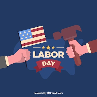 Usa labor day composition with flat design