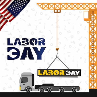 Usa labor day design with crane and truck