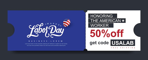 Usa labor day gift promotion coupon banner background. elegant labor day voucher .
