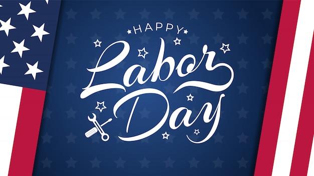 青と米国労働者の日グリーティングカード