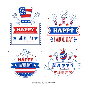 Usa labor day labels in hand drawn style