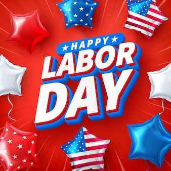 Usa labor day poster templateusa labor day celebration with american balloons flag