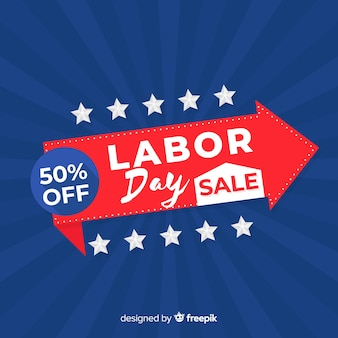 Usa labor day sale background in flat style