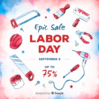Usa labor day sale background in watercolor style