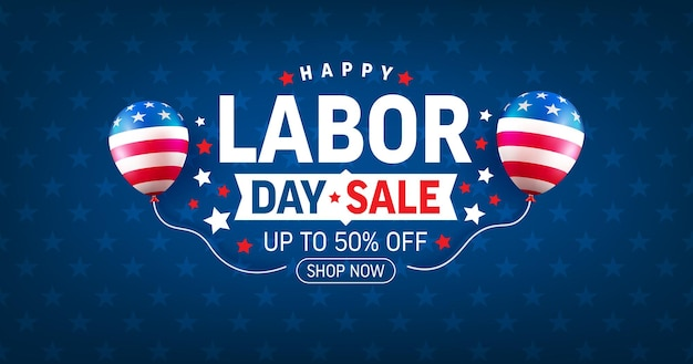 Usa labor day sale banner and poster templateusa labor day celebration with american balloons flag