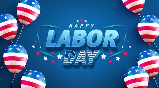 Usa labor day sale banner templateusa labor day celebration with american balloon flag on blue