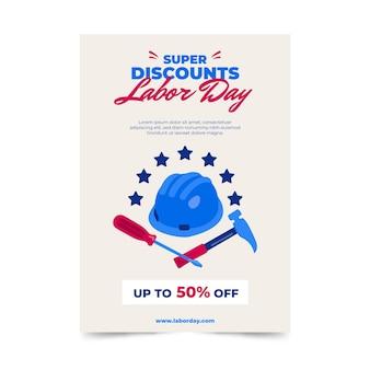 미국 노동절 판매 세로 포스터 템플릿