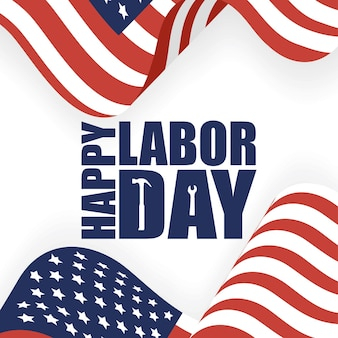 Usa labor day template with flags