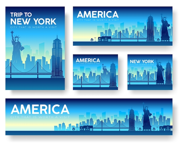 Usa landscape banners set illustration concept
