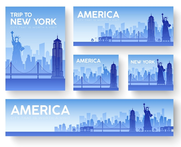 Usa landscape banners set